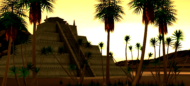 3D Rendering of Mayan Temple