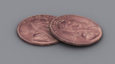 3D Rendering of pennies Set