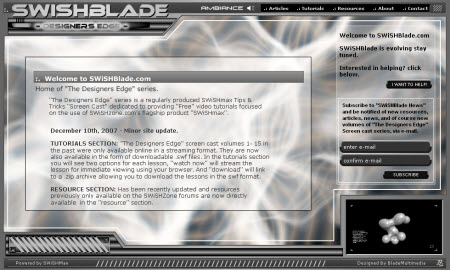 SWishBlade.com Custom Flash Website Interface
